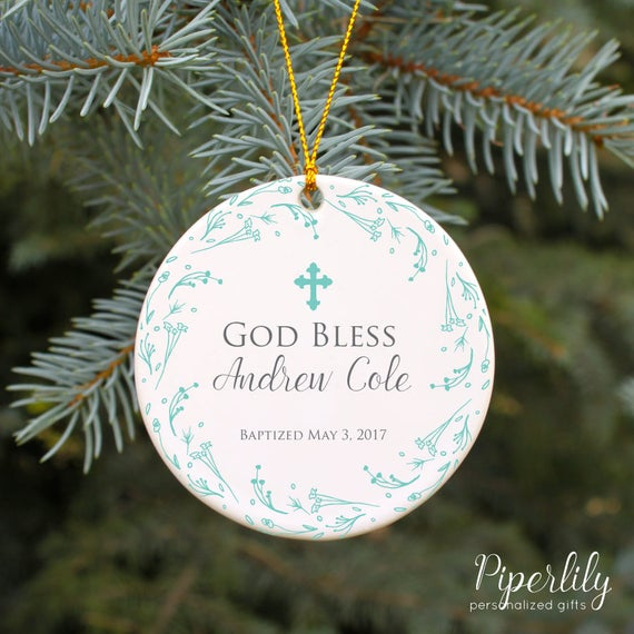 Baptism Christening Baby Metal Ornament: Christening Ornament Baptism Ornament God Bless Baby Boy