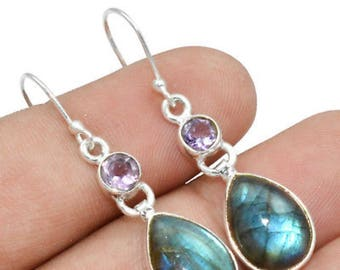 PROTECTION Amethyst & Labradorite Sterling Silver Earrings