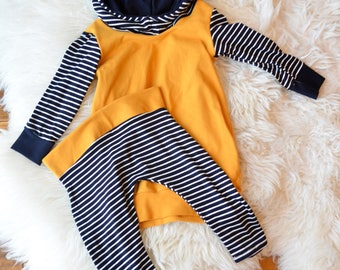Little girls sweater dress and leggings, Mustard yellow navy blue stripes, Baby hoodie set, Fall sweater, Baby sweater,