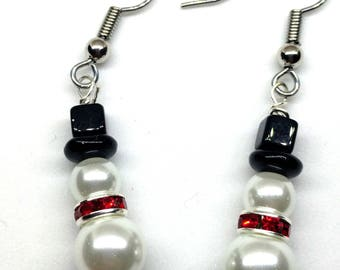 Christmas Earrings, Snowman Earrings