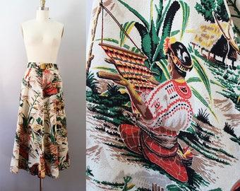 1950s Novelty Print Skirt / Vintage 50s Mexican Skirt / XS