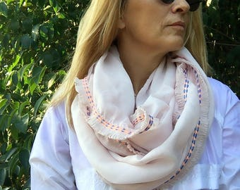 Pink Cotton Scarf, summer scarf, woman scarf, fringed scarf
