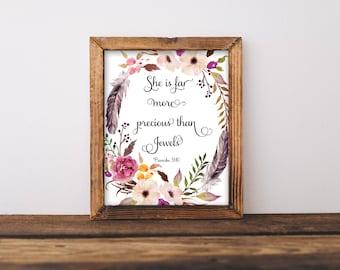 She Is Far More Precious Than Jewels, She Is Far More Precious Print, She Is Far More Precious Wall Art, Floral Wall Art, Nursery Wall Art,