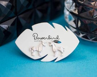 Unicorn Origami Rhodium Enhanced Sterling Silver Stud Earrings
