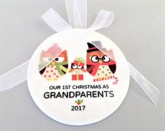 Grandparents Ornament, Grandparents Ornaments, Grandparents Gift, Grandparents Gifts, Owl Ornament, Owl Ornaments, Ceramic Ornaments