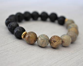 LAVA ROCK Bracelet - Aqua Terra Gemstone Bracelet - Stretch Bracelet - Essential Oil Bracelet - Gift for Her - Yoga Bracelet - Jasper Stone