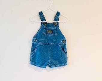 Vintage Baby Boy Oshkosh Overalls / Size 6-9 months Dungarees Toddler Denim Summer Shorts / Oshkosh B Gosh