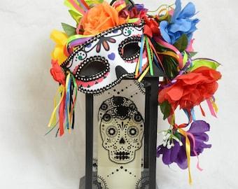 Day of the Dead Lantern, Dia de Los Muertos Candle, Halloween Centerpiece, Halloween Lantern Swag, Day of the Dead Centerpiece, Floral Swag