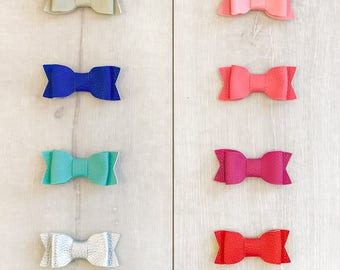 3 inch pleather hair bows - multiple color options