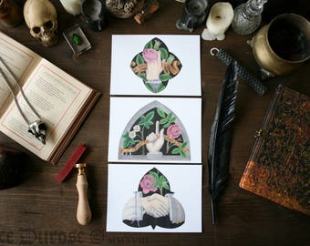 Set of 3 'Mourning Glory' A6 Postcards Victorian Funerary Art Gravestone inspired artwork Taphophile Floral Rose Hands