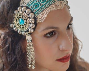 tribal fusion headpiece / mandala headpiece / boho headpiece / headpiece wedding / headdress / headband / tribal fusion bellydance / gold / blue