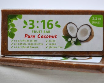 3:16 Pure Coconut Energy Bar for paleo, gluten free, and vegan diet. Made from real fruits and nuts. Nothing else.