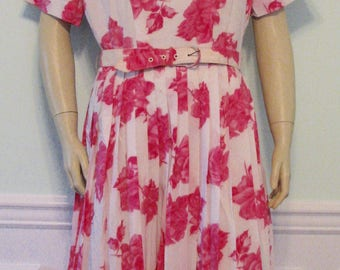 1950s Dress Roses Novelty Pink Pleated Rhinestones Valentines Day