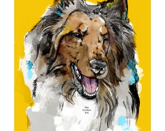Rough Collie Art - Rough Collie Print - Rough Collie Gift - Rough Collie Lover - Dog Lover Gift - Lassie Dog - Rough Collie Gift