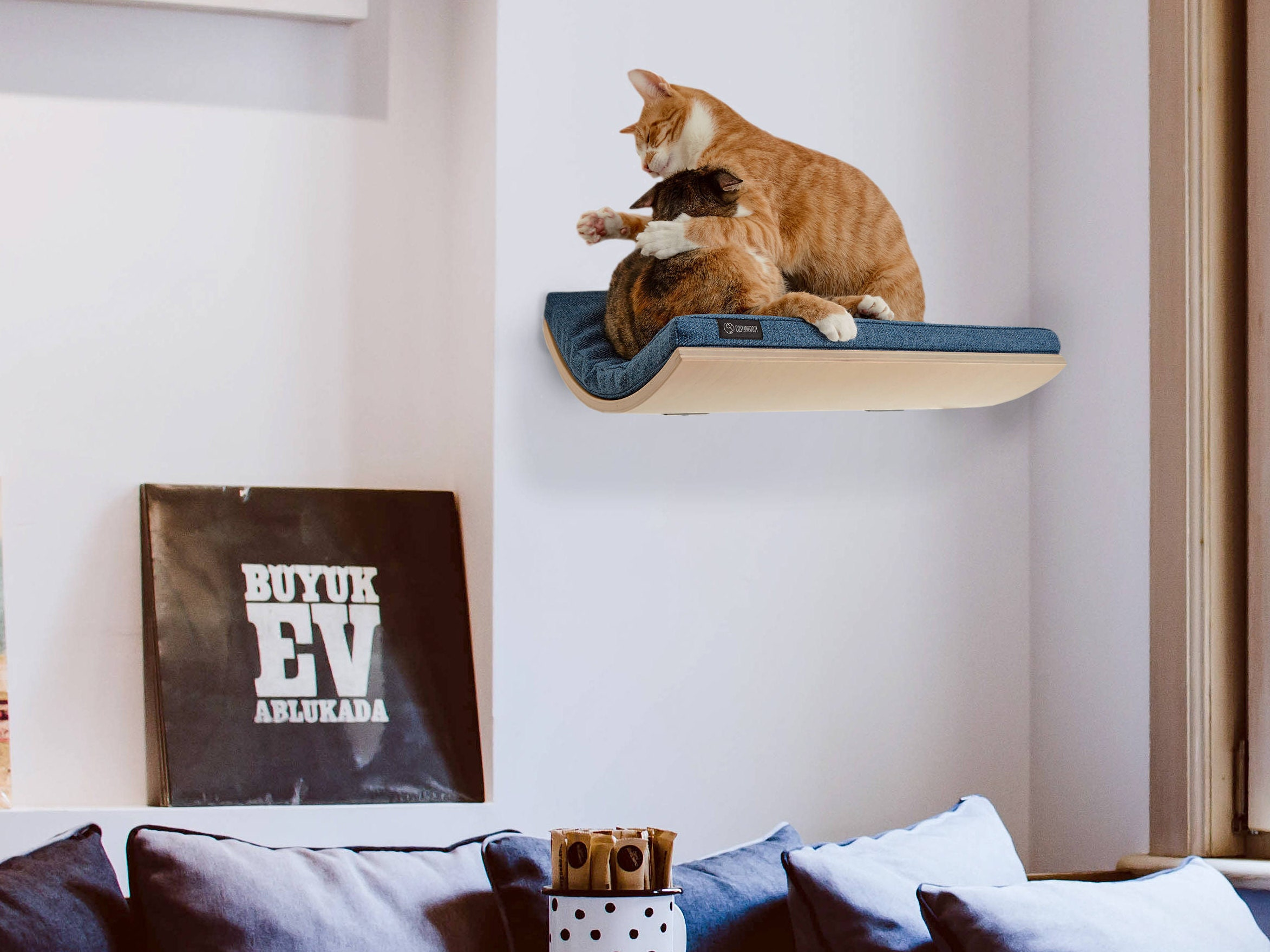 Curved cat shelf wall mounted shelf cat furniture cushion soft cat shelf pet supplies wall mounted perch cat bed wave shelf tweed blue cushion cosy amipublicfo Image collections