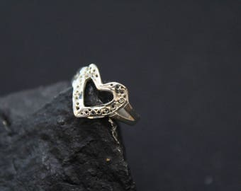 Sterling Silver Filigree Heart Ring, Sterling Heart Ring, Sterling Silver Heart Jewelry, Sterling Heart Ring, Sterling Silver Filigree Ring