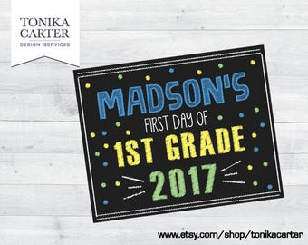 Blue Chalkboard Sign- First Day of School