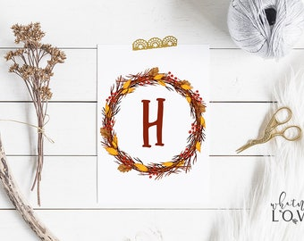 Initial Wreath Printable, Fall Wreath Printable Art, Personalized Art, Monogram Nursery Print, 8x10, 11x14 and A4 Printable