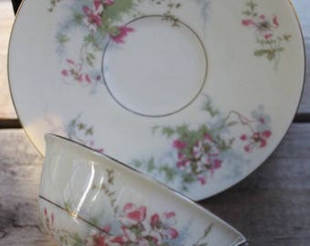 Vintage APPLE BLOSSOM New York HAVILAND Footed Cups and Saucers Set of 5