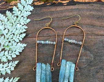 Earrings - Brass & Kyanite