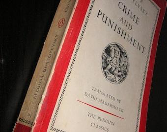 1956 Fyodor Dostoyevsky Crime and Punishment, Best Translation, Penguin Classic Softcover