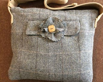Beige Grey Brown Wool Herringbone Tweed Medium Bag