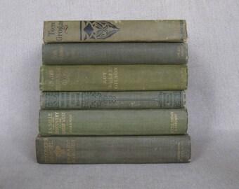 Vintage Olive Green Book Bundle, Decorative Books