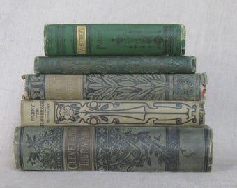 Antique Book Bundle in Shades of Green, Decorative Books, Wedding Set