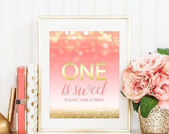 One Is Sweet Please Take A Treat Party Favors Sign First Birthday Party Decor Pink And Gold Table Sign Girl First Birthday Decor PRINTABLE