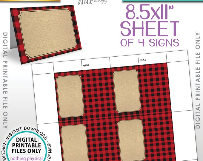 """Lumberjack Theme Labels, Red Checker Buffalo Plaid Food Labels Buffet Cards, Table Tent Menu Labels, PRINTABLE 8.5x11"""" Instant Download"""