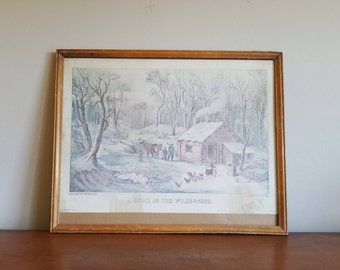 Vintage Currier & Ives Lithograph, A Home In The Wilderness, Early Americana Print