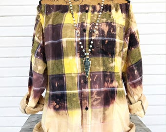 SIZE MEDIUM - Off Shoulder Distressed Flannel - Oxy Flannel - Shoulder Flannel - Distressed Flannel - Bleached Flannel #4