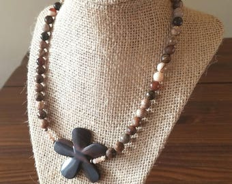 """Ohana Necklace 19"""" - with Ebony Wood Flower Focal and Wood Opalite Faceted Beads"""