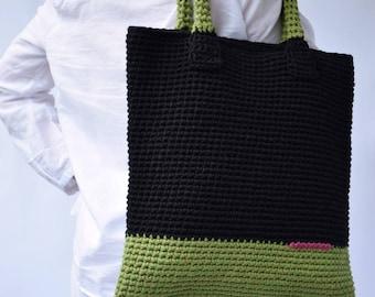 Large Tote Bag,Black Tote,Eco friendly Bag,Summer Cotton Bag,Black Crochet Bag,Large Handbag,Gift for Her,Woman accessory,Large Black Tote