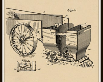 Combined fertilizer and Seed Spreader Patent #710011 dated September 30, 1902.