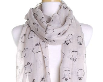 Cream Baby Penguin Scarf / Spring Summer Scarf / Autumn Scarf / Secret Santa Christmas Present / Gifts For Her / Handmade Fashion Accessory