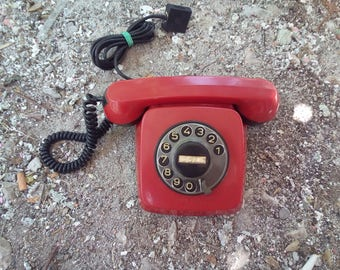 Rotary Phone Dial Red Phone Telephone Wonderfully Retro Red phone. Retro home decor