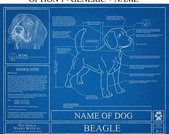 Personalized Beagle Blueprint / Beagle Art / Beagle Wall Art / Beagle Gift / Beagle Print