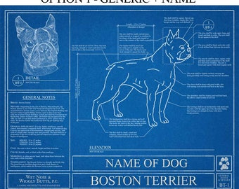 Personalized Boston Terrier Blueprint / Boston Terrier Art / Boston Terrier Wall Art / Boston Terrier Gift / Boston Terrier Print