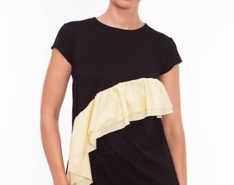 Maternity Top, Breastfeeding Top, Nursing Top, Nursing and Maternity Top in Black, Yellow Flounce Breastfeeding and Maternity Clothes