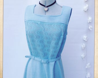 S12/14 VINTAGE COOP 1960s Mod Shift Dress + Cardigan 60s Baby Blue Belted Dress English British Mod Scooter Dress