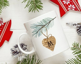 Personalized Initial Wooden Heart Ornament Coffee Mug - Custom Mug