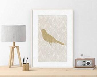 Gold Bird | Print Bird | Painting Bird | Illustration | Art Print Bird | Digital Print |  Gift Idea | INSTANT DOWNLOAD