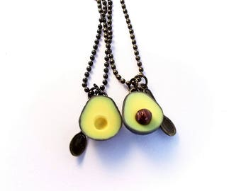 Avocado necklace, BFF Avocado Friendship Necklaces Food jewelry, food necklace, polymer clay
