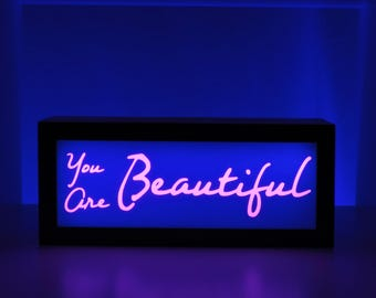 You Are Beautiful, Light Box, Inspirational Decor, Inspirational Quote, Inspirational Gift, Gift for Her, Unique Gift, Color Changing Sign