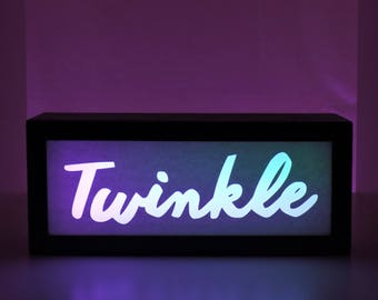 Nursery Decor, Christmas Decor, Twinkle, Light Box, Unique Gift, Color Changing Sign, Ambient Light, Glitter Decor, Nursery Light, Kids Room