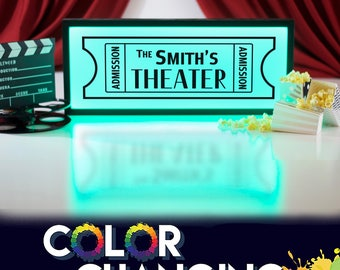 Movie Theater Sign, Personalized Theater Sign, Movie Room Decor, Home Theater Decor, Theater Room Decor, Theater Sign, Light Up Sign