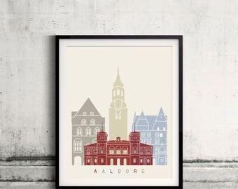 Aalborg skyline poster - Fine Art Print Landmarks skyline Poster Gift Illustration Artistic Colorful Landmarks - SKU 2349