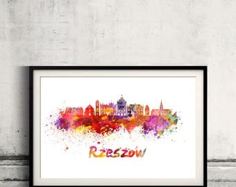 Rzeszow skyline in watercolor over white background with name of city - Poster Wall art Illustration Print - SKU 2803