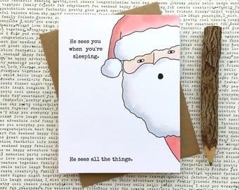 Creepy Christmas Card, Funny Christmas Card, Funny Card, Creepy Santa Card, Santa Clause Card, Cute Christmas Card, Creepy Santa Card
